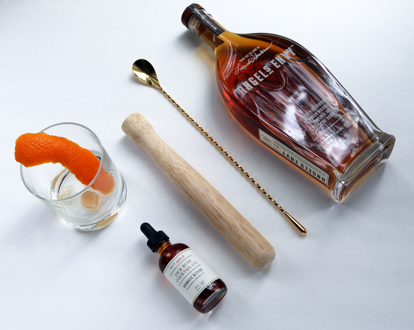 Old Fashioned Cocktail Flat Lay